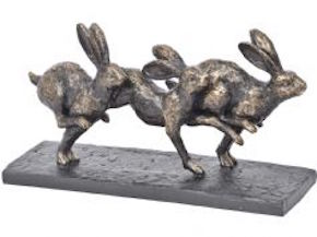 running hares sculpture available at the frame gallery in odiham