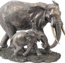 Serengeti mother and baby elephants sculpture available at the frame gallery odiham