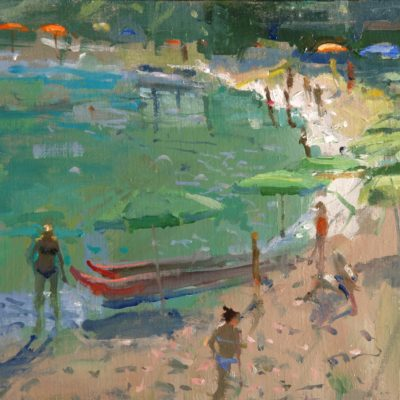 Morning on the Beach, S.Andrea, Tuscany by Richard Pikesley available at The Frame Gallery in Odiham.