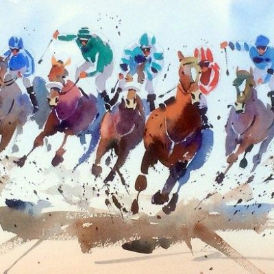 Runners and Riders, Jake Winkle available at The Frame Gallery in Odiham.